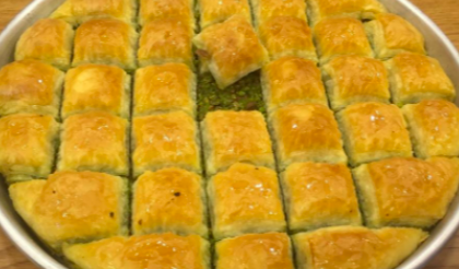 delicious baklava of pistachio layers soaked in honey,