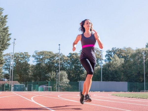 Women on running track
